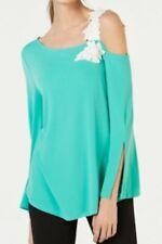 Alfani Women's Blouse Green Size XL Applique Floral Slit Sleeve Top $69 #561