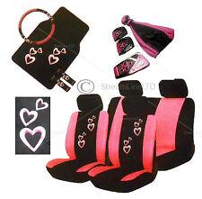 20 Piece Pink Heart Love Car Seat Steering Wheel Covers Mats Gear Knob Pedal set