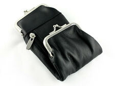 Black Leather Deluxe Cigarette Pack Holder Pouch Case and Coin Purse