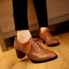 Womens Oxfords Retro Brogue Lace Up Vintage Low Thick Heel Dress Leisure Shoes