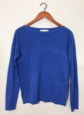 Ann Taylor Loft Knit Blouse Top Shirt Blue Striped Textured Long Sleeve Casual M
