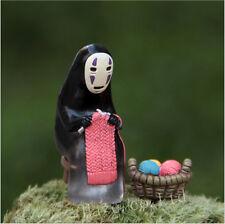 Ghibli Spirited Away No-face Knitting Basket Miniature DIY Figure Statue Model