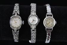 3 Vintage .925 STERLING SILVER Ladies WRISTWATCHES Hand-Wind WORKING Inc Bentley