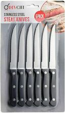 6 X Steak Knives Stainless Steel Knife Set Kitchen Cutlery Meat Serated Wooden