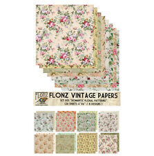 "Paper 24sh 6""x6"" # Romantic Flowers Vintage # FLONZ Craft Scrapbooking 005"