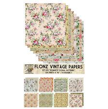 """Paper 24sh 6""""x6"""" # Romantic Flowers Vintage # FLONZ Craft Scrapbooking 005"""
