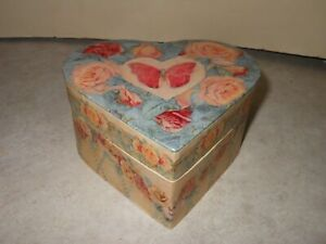 """Vintage Bob's Boxes Heart Shaped Pink Butterfly with Pink Roses 2003 """"ROSESWAG"""""""