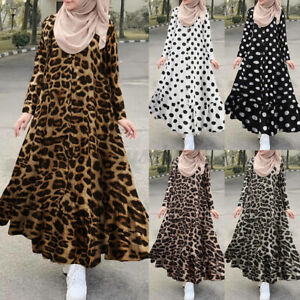 ZANZEA Damen O-Neck Muslimisches Kleid Rüschensaum Tupfen/Leopard/Blumen Kaftan