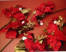 Nwt Christmas Poinsettias Lot Of 5 (Msrp $29.95) Nice Quality