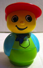 """Lego DUPLO PRIMO BOY Figure Baby Building Toys 3"""" Red Hat Blue Shirt Green Pants"""
