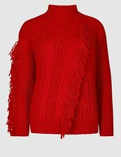 LOVELY BNWT M&S PER UNA CHUNKY KNIT SCARLET FRINGED CABLE JUMPER - XL (20-22)
