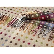 Bronte 100 Pure Lambs Wool Sofa Throw Blanket - Beige Multi Spot Check Design