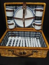 WICKER RATTAN SUITCASE STYLE PICNIC BASKET WITH DISHES AND CUTLERY FOR 4 NICE!!!