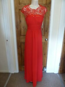 Pretty red chiffon lace detail evening dress from Babyonline size 14