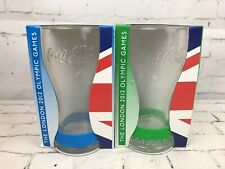 Official McDonalds Coca Cola Glasses x 2 Olympic Games 2012 Green/Blue Wristband