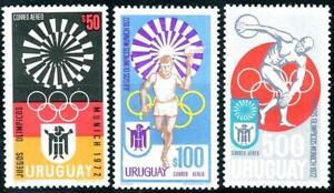URUGUAY 1972 MUNICH SUMMER OLYMPICS SC#C382-84 MNH CV$4.50 SPORTS
