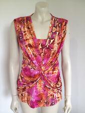 Queenspark Sleeveless Pink Orange Snakeskin Print Career Blouse Size 10