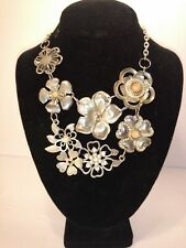 Statement necklace Big Chunky Floral long drop silvertone
