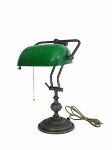 Bankerlampe Bankers Lamp Schreibtischlampe Messing mit grünem Glasschirm (10085)