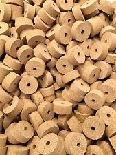 "Cork Rings 12  Natural Superior Burl 1 1/4"" X 1/2"" X 1/4"" Hole"