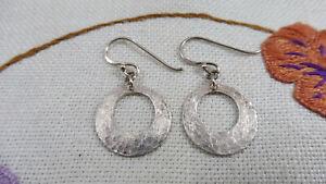 Vintage Designer Dangle Earrings Beaten Sterling Silver Boxed Oliver Bonas 925