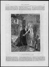 1874 ANTICA STAMPA FINE ART due modelli Emile Sacre LADY Manichino (291)