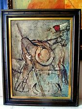 RARE ANTIQUE 1940s OIL PAINTING,,RANCHER MAN,,,WITH ORIGINAL SOLID WOOD FRAME