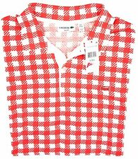 Lacoste Men's Red Orange Houndstooth Slim Fit Polo 4XL