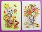 PAIR VINTAGE SWAP CARDS. CUTE MOUSE ON MUSHROOM WITH FLOWERS & LADYBIRD.HALLMARK
