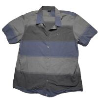 Oakley Mens Button Up Shirt XXL Grey Striped Embroidered Short Sleeve