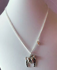 Horse necklace HORSESHOE charm silver plated chain girls trinket GIFT