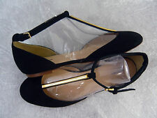 NEW J. CREW D'ORSAY T-STRAP SUEDE LEATHER BALLET FLATS BLACK SIZE 6.5 Rtl $228