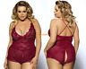 Plus Size Lingerie Sexy Open Crotch Crotchless Naughty Teddy Jumpsuit Nightgown