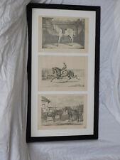 Framed Set of Three Antique Equine Engraving Prints by Benjamin Herring