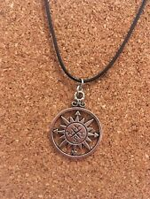 Silver Plated Detailed Large Compass Pendant Choker Chocker Necklace Free Post