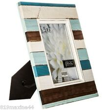 "Nautical Striped Wood Plank Frame - 5"" x 7"" Nautical feel Decor"