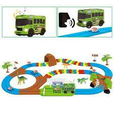 deAO Intelligent Rail Car & Track Play Set with Dinosaur Toys, Light and Sound
