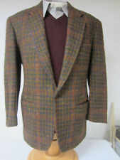 IRISH WOOL TWEED Jacket Made in ITALY Russet Green Blue Houndstooth Sz 44