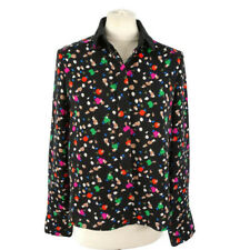 Warehouse 8 10 Black Multi Abstract Long Sleeve Shirt Blouse Collared Womens