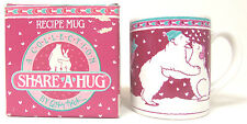 NEW Vintage SCHMID Cathy Heck 1986 Recipe SHARE A HUG MUG POLAR BEAR HUGGABALOO