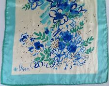 Vera Neumann Scarf Blue Abstract Watercolor Flowers Green 14 x 43 Teal Graphic