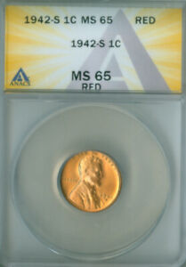 1942-S Lincoln Wheat ANACS MS-65 RED FREE S/H (2127365)