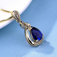 Collier pendentif goutte d'eau doré zirconium bleu orné de Swarovski® Element