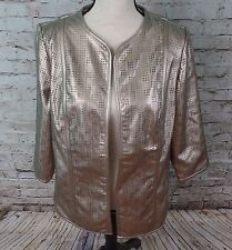 Chico's Traveler's Collection Gold Perforated Open Blazer Jacket Ladies Size 1