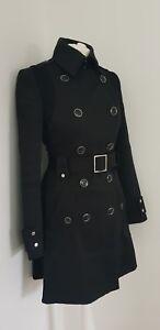 Karen Millen Wool Contrast Black Belted Coat Uk 10 Us 6 Eu 38