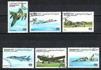 Aviones Sahara (22) serie completo de 6 sellos matasellados