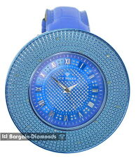 mens big diamond blue ice out clubbing 60 mm watch blue leather maxx