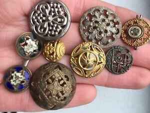 pierced, enamel, and metal antique button lot