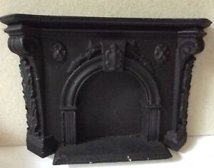 vintage dollhouse miniature fireplace stone with details/old store stock