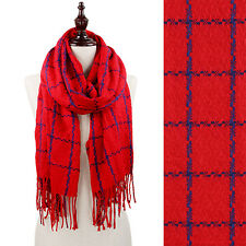 Red and Blue Cozy Square Print Fringe Fashion Scarf